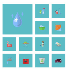 flat icons faucet sofa washcloth and other vector image