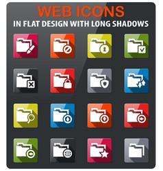 folder icon set vector image vector image