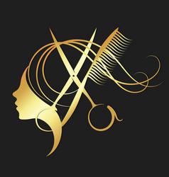 Girl and hairdressing scissors gold color vector