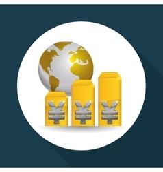 Global economy design money icon isolated vector
