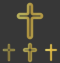 Golden line cross logo design set vector