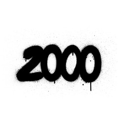 Graffiti number 2000 sprayed in black over white vector