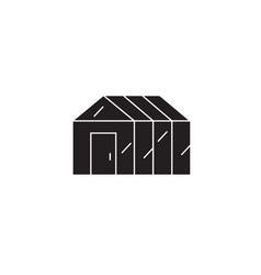 green house black concept icon green house vector image