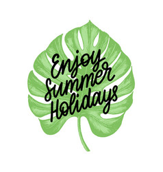 hand lettering enjoy summer holidays vector image