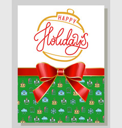 happy holiday postcard winter greeting vector image
