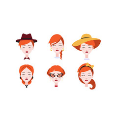 head of beautiful redhead girl with closed eyes vector image