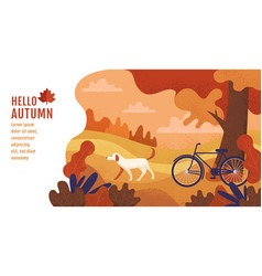 hello autumn banner design template vector image