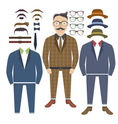 hipster style with elements of style vector image