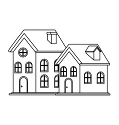 House and building icon isolated black and white vector