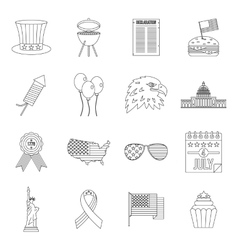 Independence day flag icons set outline style vector