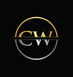 initial gold and silver color cw letter logo vector image