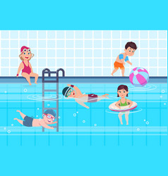 kids in swimming pool boys and girls in swimwear vector image