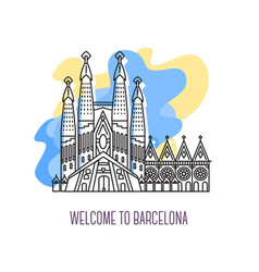 la sagrada familia barcelona landmark symbol of vector image
