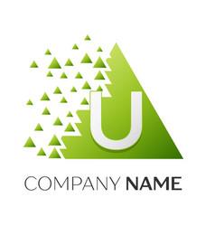 letter u logo symbol in colorful triangle vector image