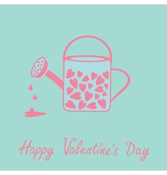 Love watering can with hearts inside Pink and blue vector image