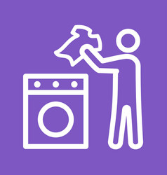 Man doing laundry vector