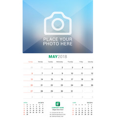May 2018 wall monthly calendar for 2018 year vector