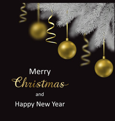 merry christmas and happy hew year card vector image