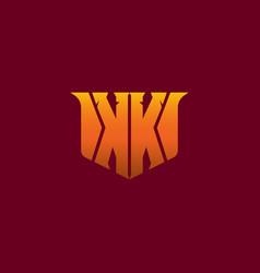 mirror letter kk with yellow orange effect logo vector image