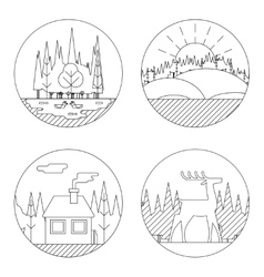 Nature landscapes logo outdoor life symbol lake vector