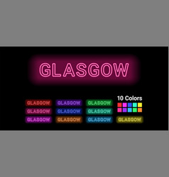 Neon name of glasgow city vector