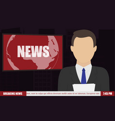 News anchor on tv breaking news vector