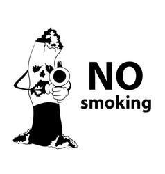 no smoking area cigarette with gun black vector image