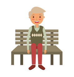 old man grandpa sitting in bench waiting vector image