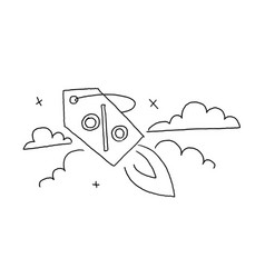 Outline sketch by hand draft launch a discount vector
