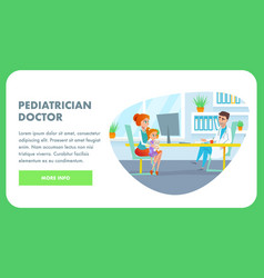 pediatrician doctor office flat banner vector image