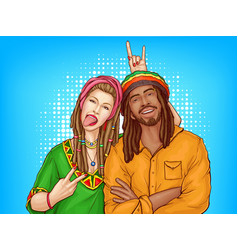 pop art rastafarian couple - man woman vector image