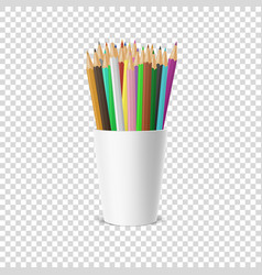Realistic blank plastic cup-stand icon with vector