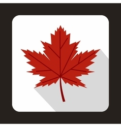 Red maple leaf icon in flat style vector image