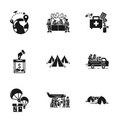 Refugees process icon set simple style vector