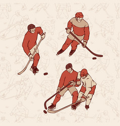 Retro set hockey player and seamless pattern vector