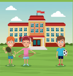 School children sport image vector
