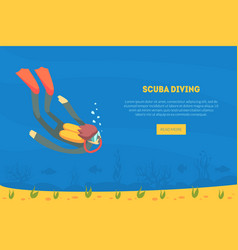 scuba diving landing page template diver in vector image
