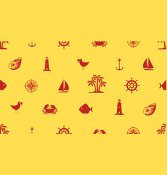 seamless background with cute sea objects vector image