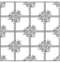 seamless lattice daisy flowers background vector image