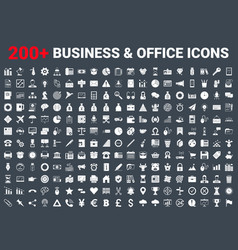 set business icons glyph vector image