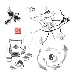 Set in a japanese style sumi-e vector