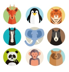 Set of animal icons in round buttons vector image