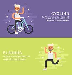 Set of Concept Flat Style Sport Male Cartoon vector image