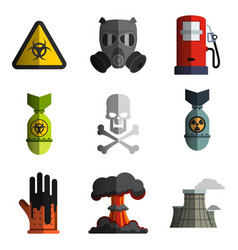 Set of ecology icon nuclear and biological vector