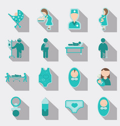 set of medical health care icons in flat style vector image