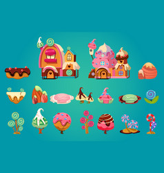 Set of sweet landscape elements for fantasy vector