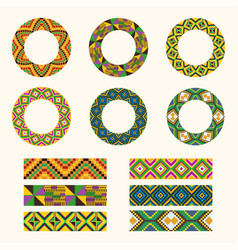 set of tribal decorative elements african round vector image