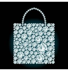 Shopping bag made of diamonds vector