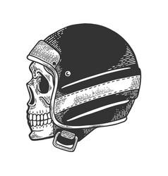 skull in motorcycle helmet sketch engraving vector image