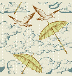 Sky seamless pattern clouds and rain umbrellas vector